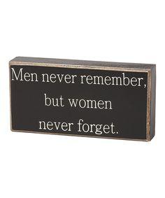 'Men Never Remember' Box Sign