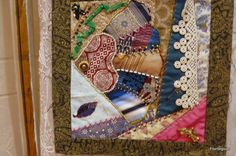 Quilt square from class at Florilegium in Parkville, MO, taught by Sherry Whetstone, crazy quilt with embroidery, applique, beads, buttons, findings, beautiful