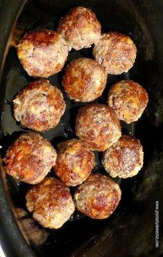 Slow Cooker Mozzarella-Stuffed Meatballs# slow cooker healthy recipes