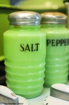 JADITE vintage Salt Shakers