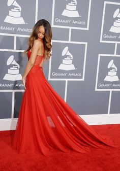 Rihanna arrives at the 55th Annual GRAMMY Awards