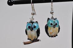 Owl Lampwork earrings by Originalsbydenise on Etsy, $10.00