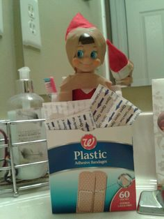 Elf On The Shelf Idea!! ~ Elf on the Shelf using up all the bandages putting them all over himself