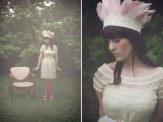 lace crown with pink feathers