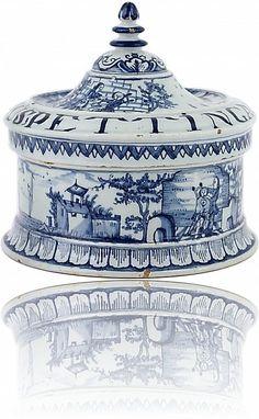 Delft Blue Tobacco Box - Antique Ceramics & Delft Blue (Dutch Delftware)