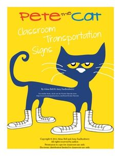 These adorable Pete the Cat themed classroom transportation signs are the perfect addition to any primary classroom.Included in the set are 6 f...