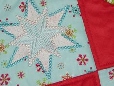 Samplings From A Blue Ribbon Girl: Sparkle Snowflakes Table Runner Tutorial