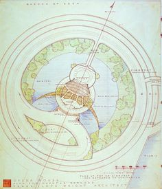 """Crescent Opera House, Plan for Greater Baghdad (Project), Baghdad, Iraq. 1957. """"The Frank Lloyd Wright Foundation Archives (The Museum of Modern Art   Avery Architectural & Fine Arts Library, Columbia University, New York)"""""""