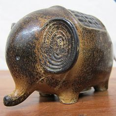 Mid-Century Elephant Coin Bank Pottery