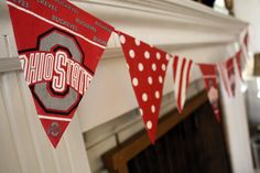 Paper napkin banners for game day decor...inexpensive, easy, and adorable! Great idea for game day!