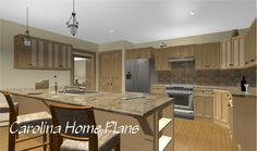 Open floor plan with kitchen lunch bar (plan MS-2283-AC)