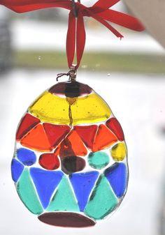 Handmade fused glass egg suncatcher by DianasStainedGlass on Etsy, $55.00