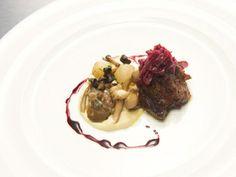 Richard Blais' Beef Short Rib with Mushrooms, Red Cabbage Marmalade & Celery Root Horseradish Puree