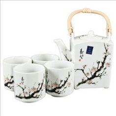teapot, cup, tea sets, cherri blossom, blossom trees, kitchen dining, tree branches, home kitchens, cherry blossoms