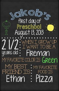 <3 These are SO CUTE! <3  First Day of School Chalkboard sign by AMDdesigns1 on Etsy, $15.00