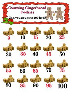 Count by 5 to 100 in fun gingerbread cookies design.