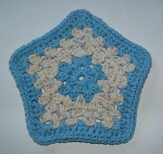 Blue Star Crocheted Facecloth
