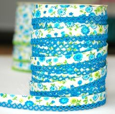 $1.75 per yard Bias Tape Blue Floral Cotton and Lace by HollandFabricHouse