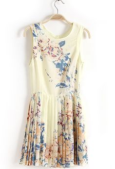 Beige Sleeveless Multi Floral Pleated Dress - Sheinside.com