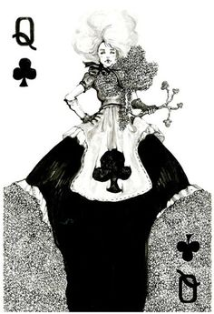queen of clubs playing cards by connie lim