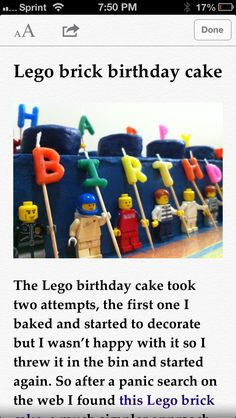 Bakery cake with mini figures holding candles but on top and Duplo bricks on top. shiny star thingys, too