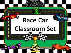 RACE CAR THEME  This set includes the following:   -Desk name tags (both regular and primary)   -Charts (1 to 100, addition, and multiplication- 2 sizes)   -Number line (0 to 20)   -Calendar numbers (cars on odd numbers, helmets on even numbers, trophies on multiple of 3, and flags on multiple of 5)   -2 ABC sets    -Assortment of tags, labels, pencil toppers, charts, posters, hall passes and more.