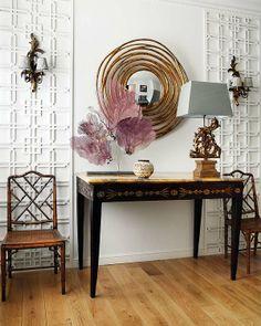 so pretty decor, chair, mirrors, interior, wall treatments, foyer, hallway, entryway, trelli