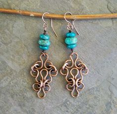 Turquoise Earrings Celtic Jewelry Handmade Copper by SeventhWillow, $32.00