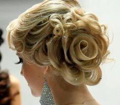 hair flowers, braid, long hair, wedding updo, prom hair, rose wedding, bride, wedding hairstyles, flower hair