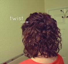 small twist crown secured with bobby pins - great for second day hair #curlyhair
