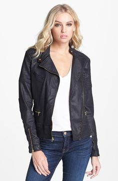 Coated denim moto jacket: Great for fall or spring
