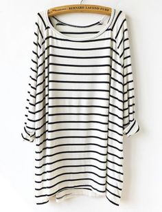 White Black Striped Loose T-Shirt pictures find more women fashion on http://www.misspool.com find more mens fashion on www.misspool.com