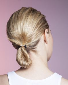 For a sweet twist bun, use a bit of hairspray, pull hair back and tie into a low pony. With a bit of gel (try Bb. Gel), twist ponytail, then...