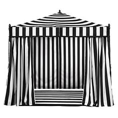 This @zgalllerie striped tent is perf for outdoor pool parties. portofino pavilion, pool parties, tent, pool fun, black white, outdoor parties, backyard, stripe, outdoor pools