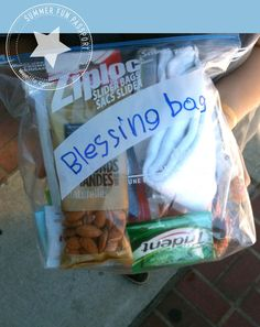 Blessing Bags: there is always one person begging at an intersection on the way to church. I'l start with these, and next time, put an invitation to our church in the next one.