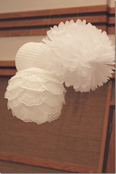 Baptism decorations, pom poms