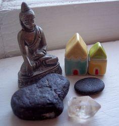 mini altar, little houses