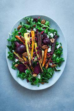 kale, roasted vegetables, ricotta and pomegranate super salad