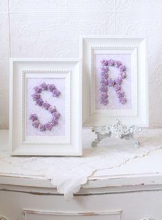 Lavender rose initial frames - so sweet in a girl's room/nursery