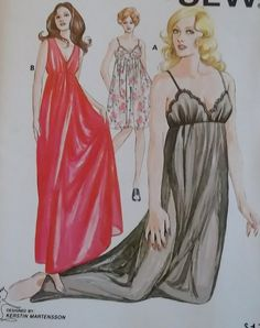 Ladies' Nightgown Kwik Sew 478 Pattern  Size Sm to Xl by DotisSpot, $18.95