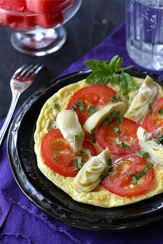 Summertime Frittata with Artichoke, Tomato & Basil Pesto