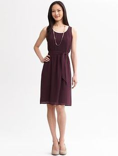 Pleated tie-waist dress