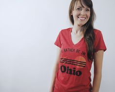 Rather Be In Ohio Womens V-Neck Tshirt, Screenprinted Tshirt, Triblend Red, Vacation Tshirt