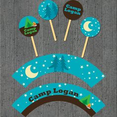 Camping Party Cupcake Toppers/Wrappers by cranberrydesign on Etsy