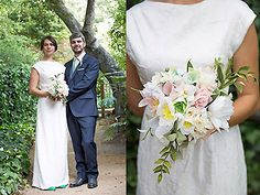 A pink and white bouquet accented with greenery. Rikki Ward Photography.