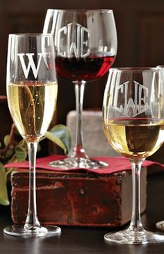monogrammed wine gla