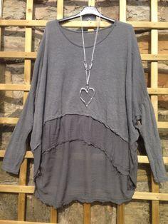 Fallen Saints Grey Marl Raw Edge Jumper Soft Knit Oversize 10 16 Lagenlook | eBay