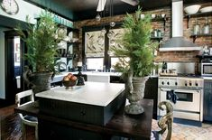 potted plants, tree, cozy kitchen, rustic kitchens, black windows, vintage homes, exposed brick, open shelving, christma