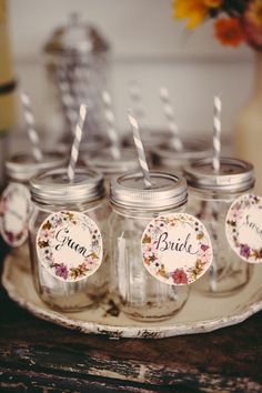 paper name tags for the drinks, photo by JBM Weddings http://ruffledblog.com/handsome-hollow-wedding-ideas #weddingideas #papergoods #nametags