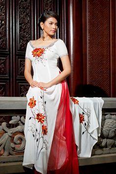 Áo dài quý bà - CM384 White dress and red pants with flower textures a luxury beauty :)